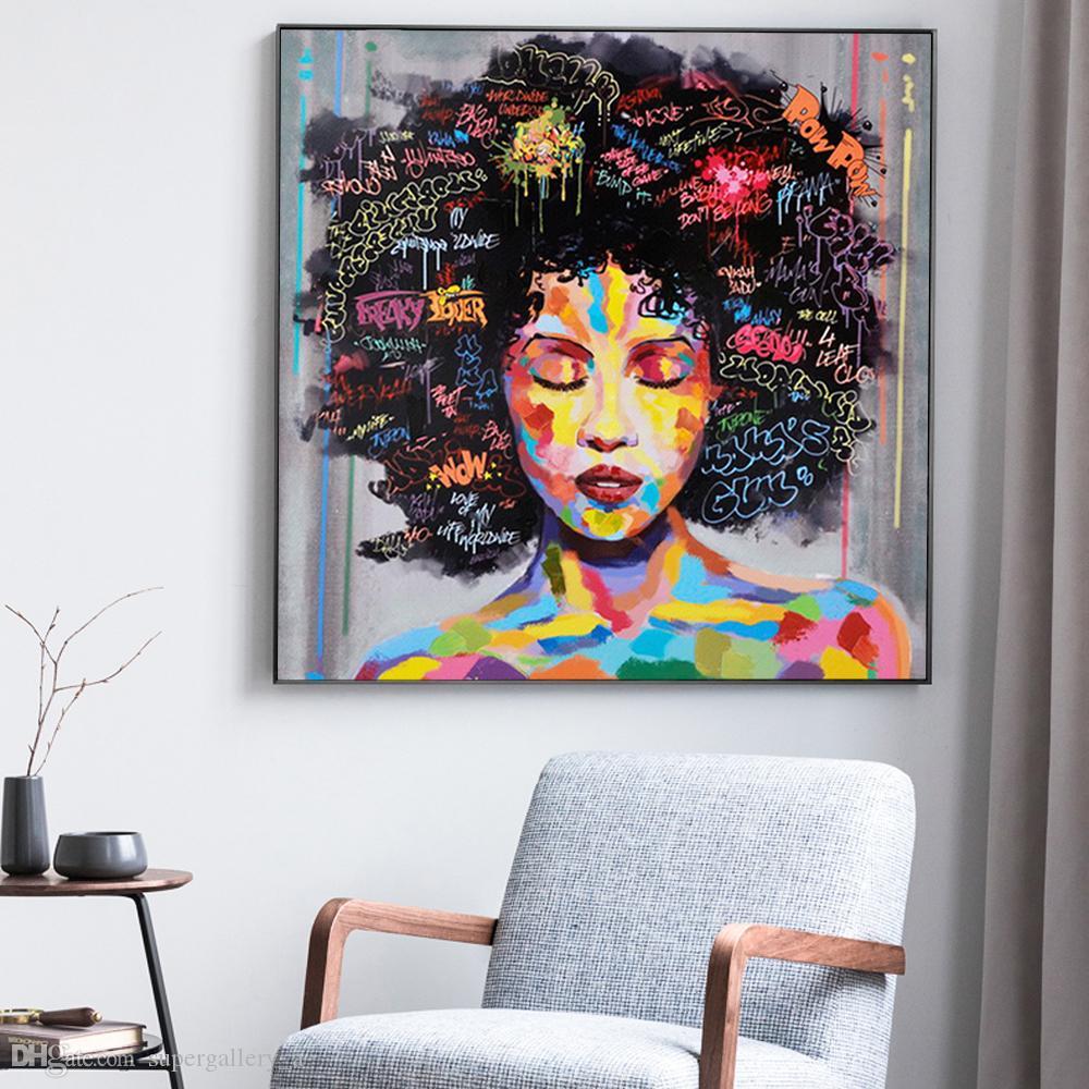 Ragazza africana astratta con lettere Modern Pop Art Wall Art Handcrafts / HD Stampa pittura a olio su tela Wall Art Canvas Pictures 190907
