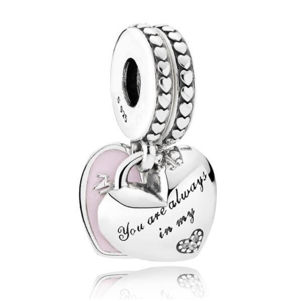 Originales 925 Sterling Silver Charm madre e hija corazones con los granos cristalinos cupieron el collar de Pandora pulsera DIY joyería