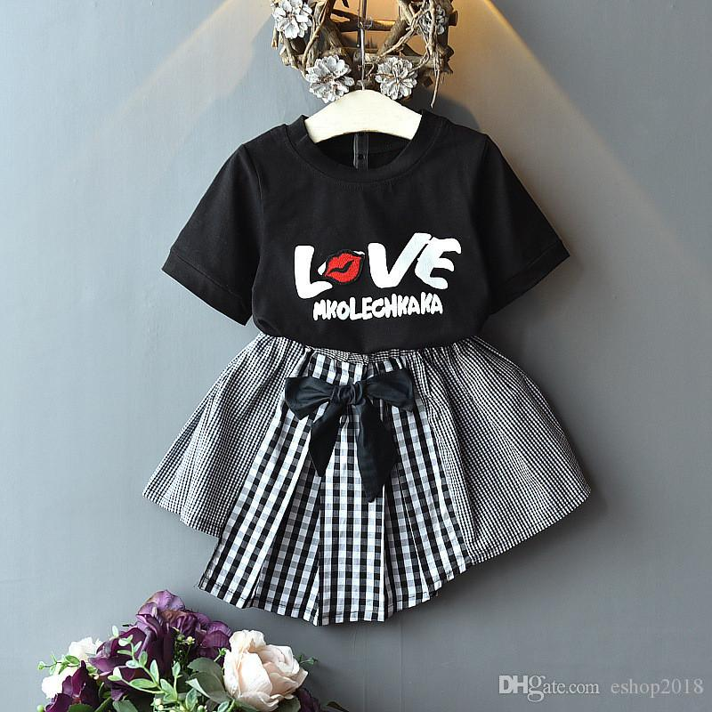 ESHOO Baby Girl Clothes Summer Outfits 2 Pieces Short Sets with Plaid  T-Shirt Baby Girls Clothing