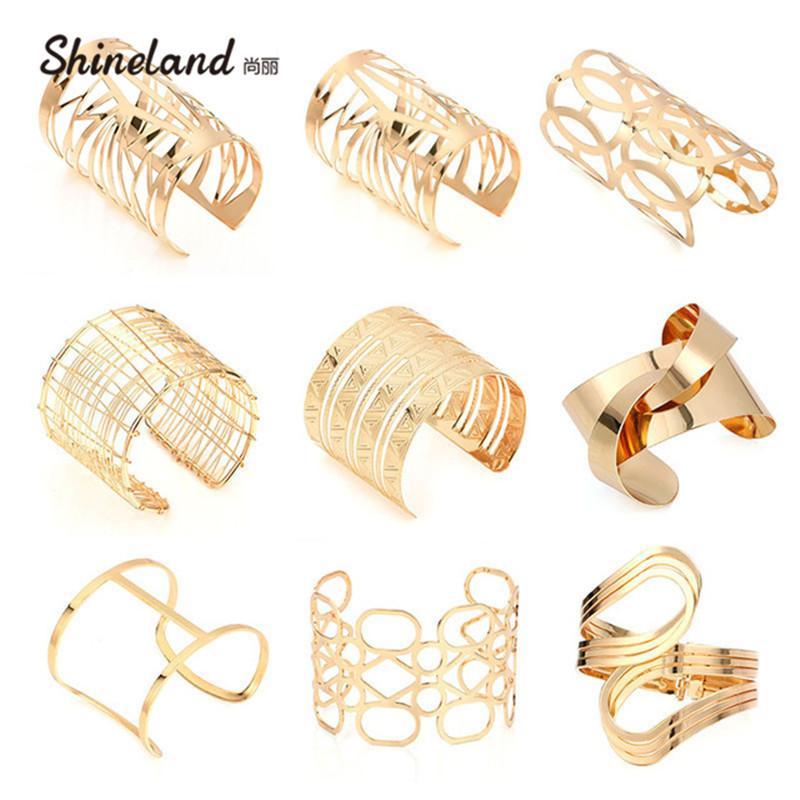 Bangles Shineland Nouveau mode unisexe charme multiple style Bracelets pour les femmes Hommes Simple Pop Punk Géométrique Multilayer Big Bangles Métal