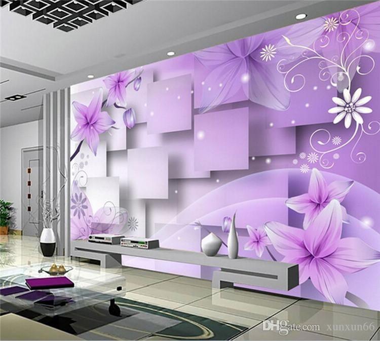 3D TV Fond Fond Fond Mur Fond d'écran Salon Fond d'écran Canapé Chambre à coucher Grande Fresco Sans soudure Fleur violet Violet Taille personnalisée