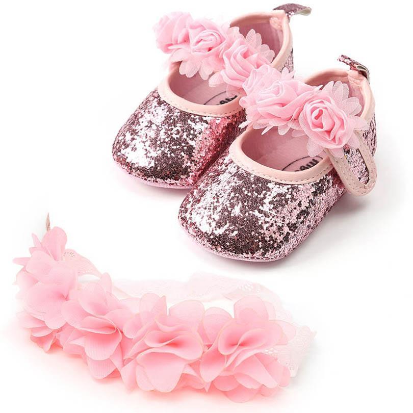 Ins scarpe del bambino del fiore + fascia 2pcs / set Pattini della neonata pattini infantili mocassini morbidi prima scarpa scarpe bambino scarpa principessa B1062 Walker