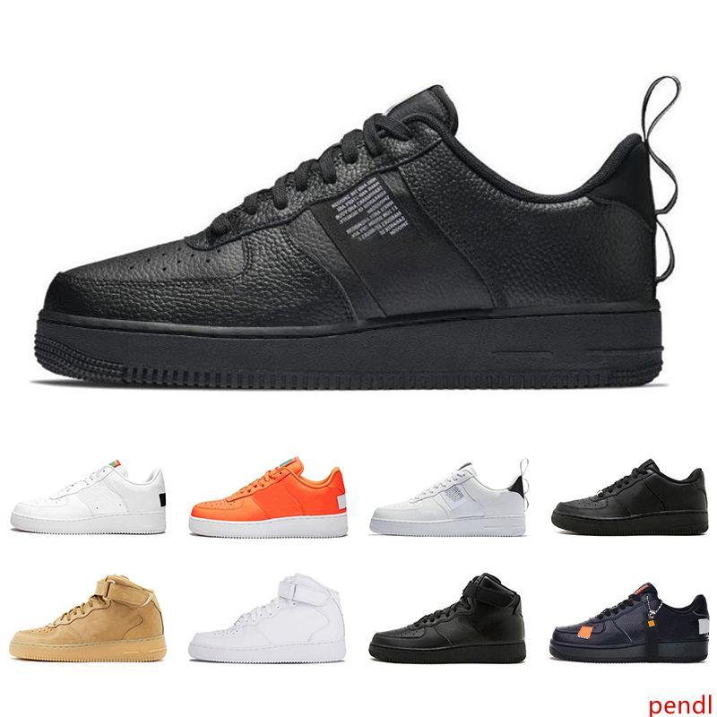 2019 Classic Black Hot 1 Utility Branco Homens Mulheres Casual sapatos vermelhos Laranja Sports Leisure High Low Cut trigo Trainers Chassures 36-45