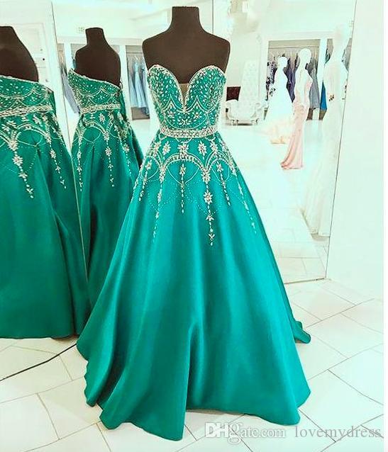 Luxueuze smaragdgroene prom dresses kristal kralen full body plugging v-hals bandage satijn elegante formele avondjurken pageant jurk meisje