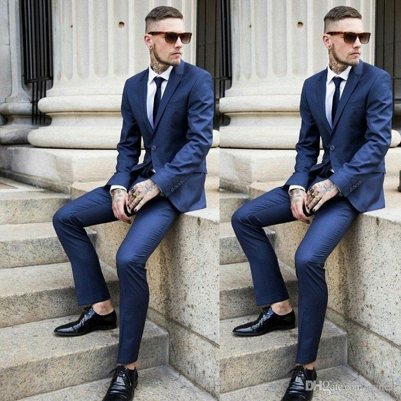 Navy Blue Men Костюмы свадебного БИЗНЕСМЕН костюмы однобортного Groom смокинги 2piece (пальто + брюки) Slim Fit Костюм Homme Terno Мужчина для