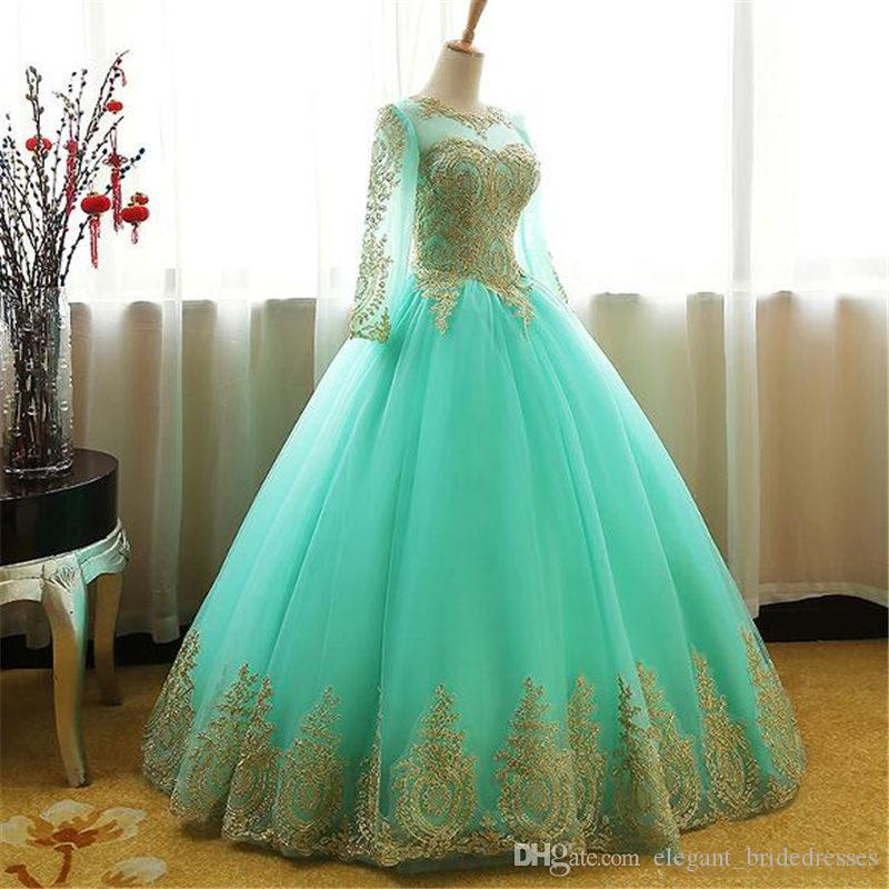 Ball Gown Quinceanera Dress pink mint light blue champagne lace prom dresses sweet 16 sixteen long sleeves lace princess dress vestidos