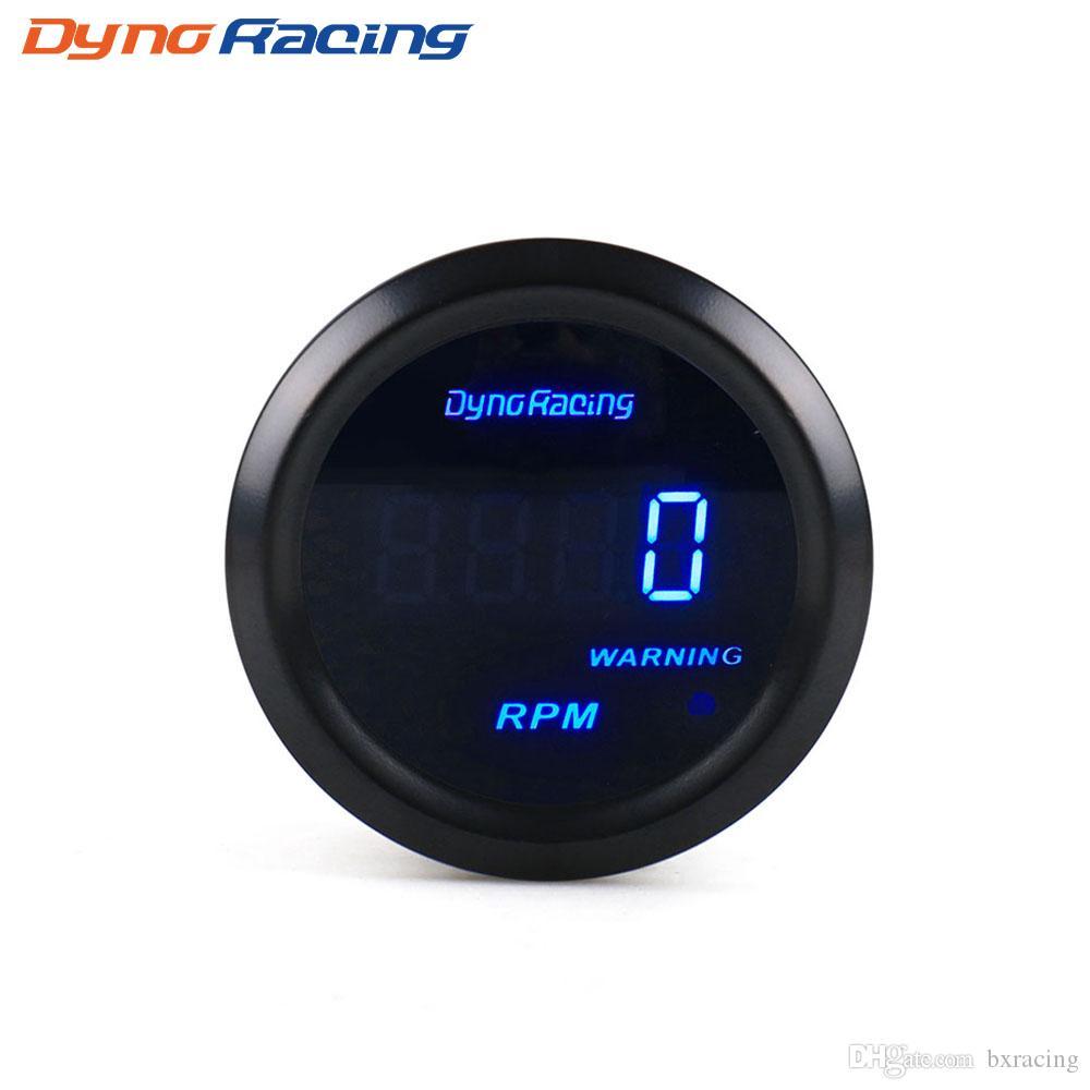 """Dynoracing 자동차 타코미터 2 """"52mm의 RPM 게이지 디지털 속도계 0-9000 RPM 청색 LED 미터 자동차 게이지"""