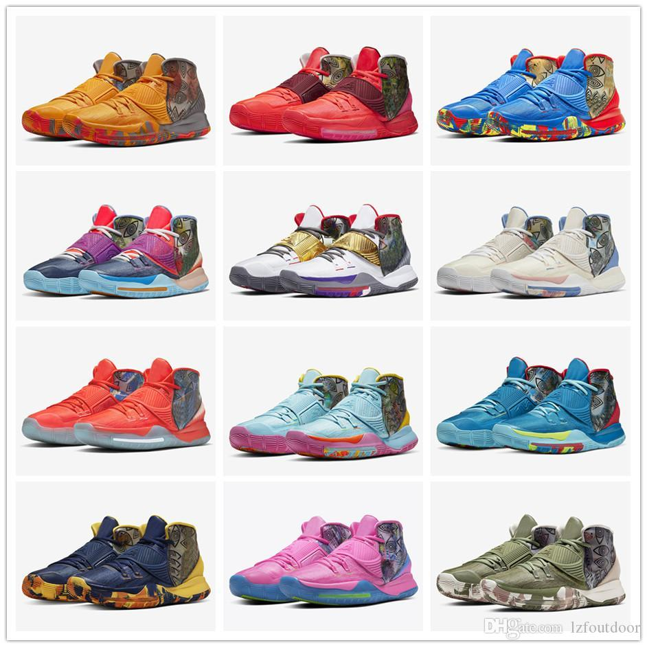 Hombres Kyrie 6 de precalentamiento Shanghai Beijing Guangzhou Diseñador zapatilla de deporte Kyrie 6 NYC Miami Houston sanar a los zapatos Mundial Basketbal lzfoutdo