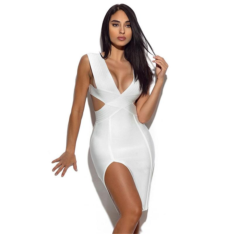 새로운 여성 여름 민소매 니트 섹시한 깊은 V 플 런지 중공 사이드 슬릿 Bodycon 붕대 드레스 칵테일 파티 드레스