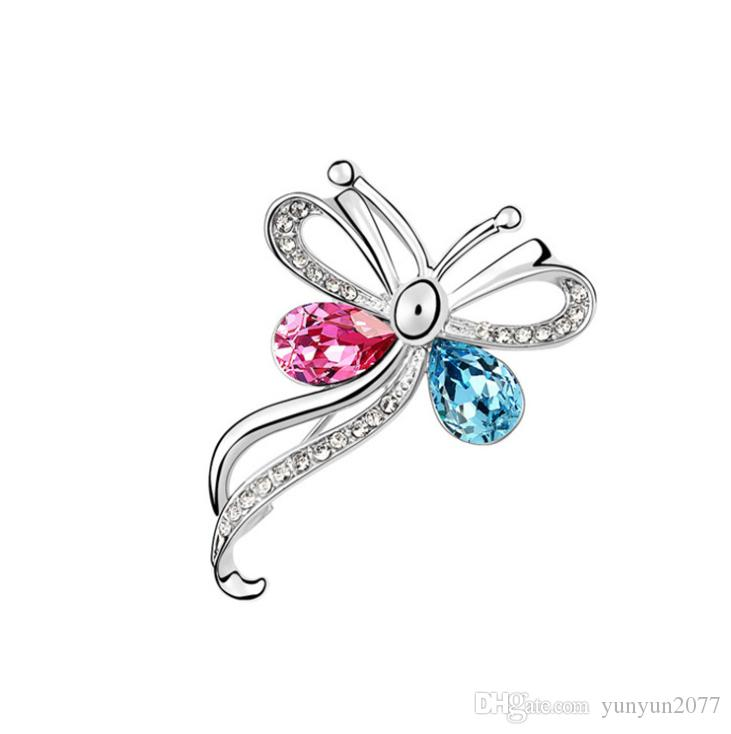 Christmas Gift High-end Fashion Accessories Jewelry Luxury Import Austrian Crystal Rhinestons Smart Butterfly Charm Brooches Pins For Women