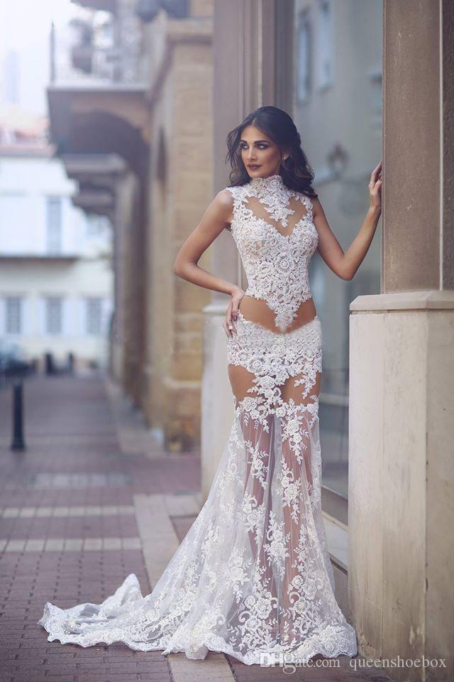 2020 atractivo de alta vestidos de cuello de la sirena de boda escarpado de la blusa de encaje de tul blanco ver a través de la fiesta nupcial del tren del barrido Vestidos Vestido de Festa