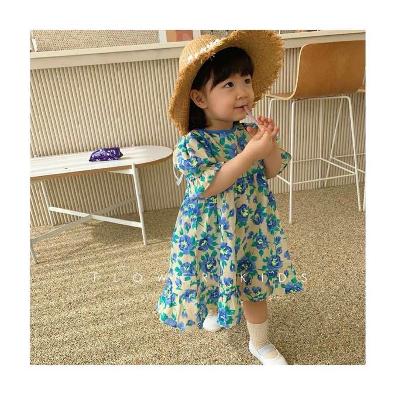 Roupa de novas meninas Crianças vestido floral fresco Crianças coreano 2020 do bebê Puff luva Aline Vestem roupas de verão crianças