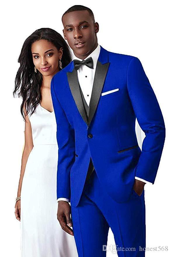 Bel Busy Button Groomsmen Peak Groom Groom Tuxedos Men Suits Matrimonio / PROM / Dinner Best Man Blazer (Giacca + Pantaloni + Tie + Vest) 654