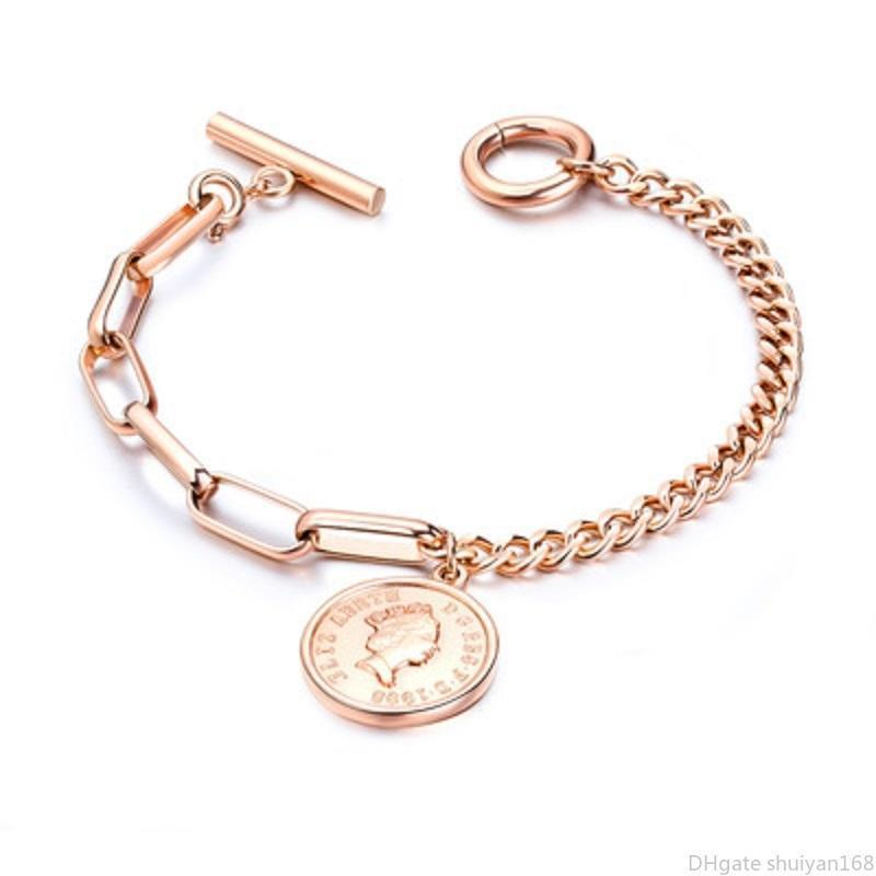 Королева монет Шарм цепи браслет Урожай женщин головы подвеска браслеты из нержавеющей стали 18см браслет Заявление подарка ювелирных изделий для женщин Девушки