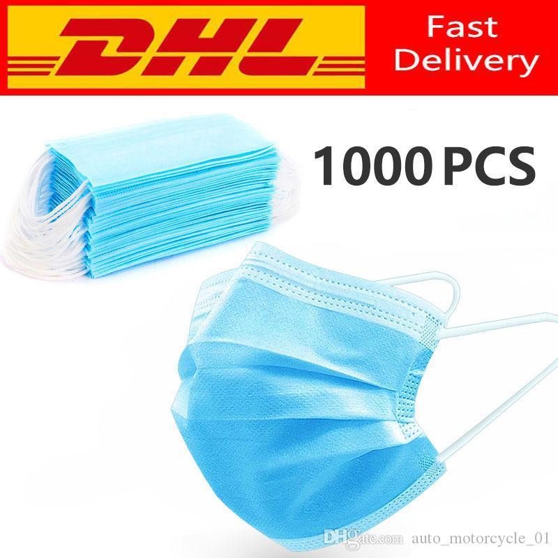 de livraison rapide Hot Sale 3 couches Masque Masques bouche Visage Masques de non tissé à usage unique anti-poussière Meltblown tissu Masques 11