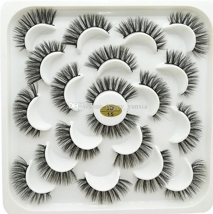 Frete Grátis Epacket 10 par 3d cílios de vison natural longo fofo cílios falsos feitos à mão dramática cílios falsos 9999