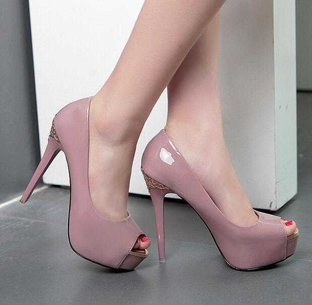 chaussures de marque de luxe peep toe en cuir verni sculpté fleur métallique PU plate-forme talons hauts blanc taille 12cm noir nu rose 34 à 39 CS10