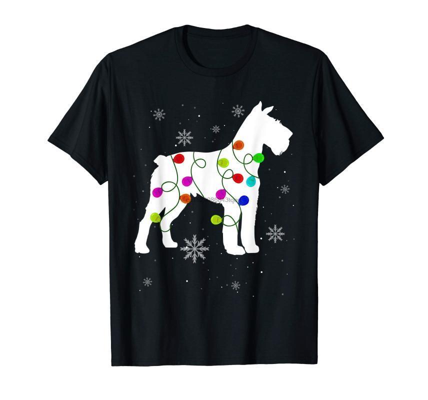 مطابقة أفطس الكلب أضواء عيد الميلاد عائلة T-القميص للرجال تي شيرت الأسود