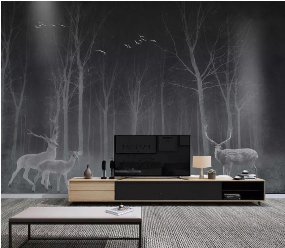 oturma odası Vintage Avrupa siyah beyaz orman arka plan duvar dekoratif boyama modern duvar kağıdı
