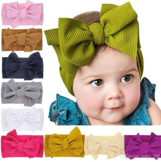 Bebê Nó headband Meninas headbands grande arco Elastic bowknot hairbands Turban Sólidos Headwear Envoltório principal Faixa de Cabelo Acessórios GGA2009