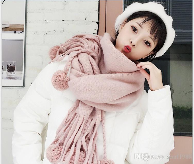 Woolen scarf for women winter Korean version versatile new shawl dual-purpose Korean students long thickened warm scarf