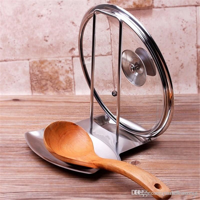 Cuillère à soupe rack couvercle en acier inoxydable Pan Pot couvercle cuillère rack Porte-Poêle Organisateur de rangement Accessoires de cuisine