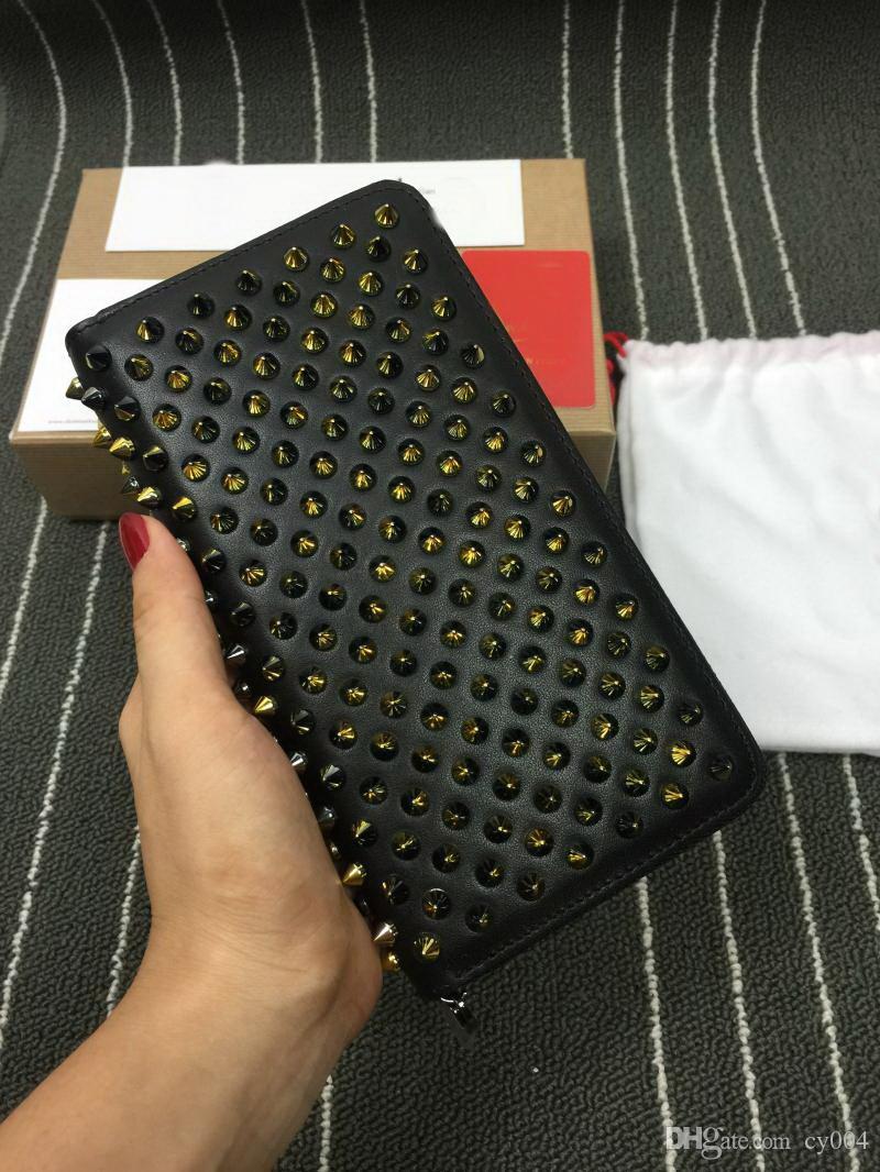 Çivili Debriyaj Kadınlar uzun cüzdan çok renkli tasarımcı bozuk para cüzdanı Kart sahibinin orijinal kutu erkekler klasik fermuar cebi torbasını cüzdanlar altları kırmızı