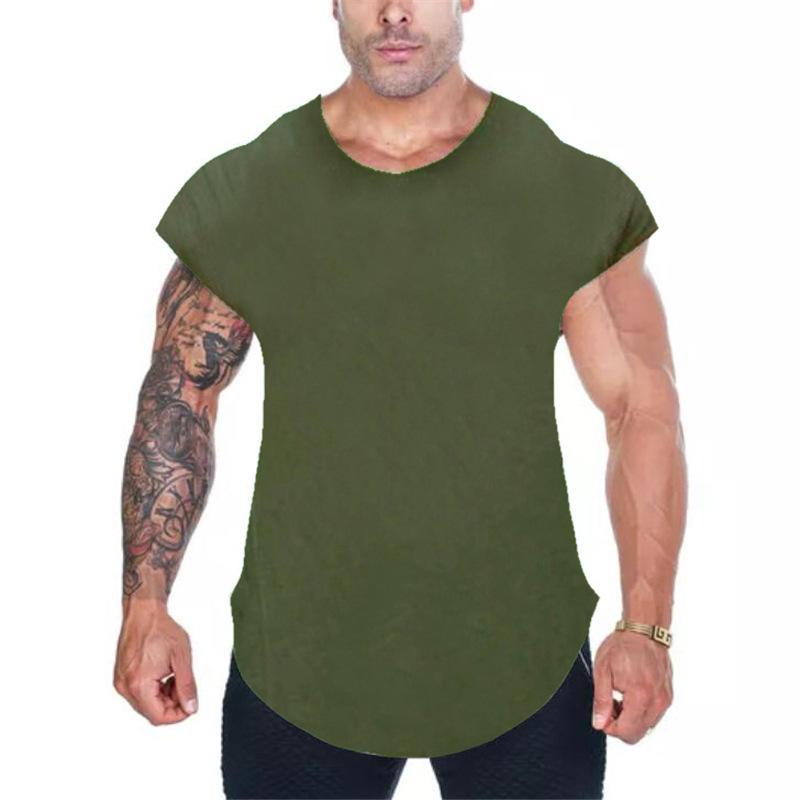 Hombres camiseta de algodón con manga corta Streetwear Hip Hop camiseta del verano del palangre Curva Hem tes de las tapas