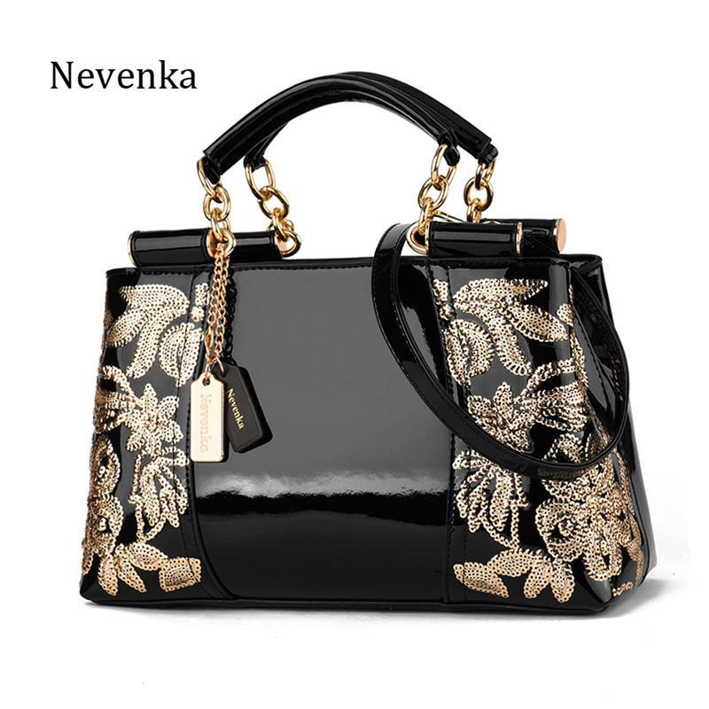 Nevenka Bordado Bolsa Mulheres Sacos de Noite de Patente De Couro Bolsa de Ombro Feminino Crossbody Bag Floral Bolsa Casual Tote Bags Y190620