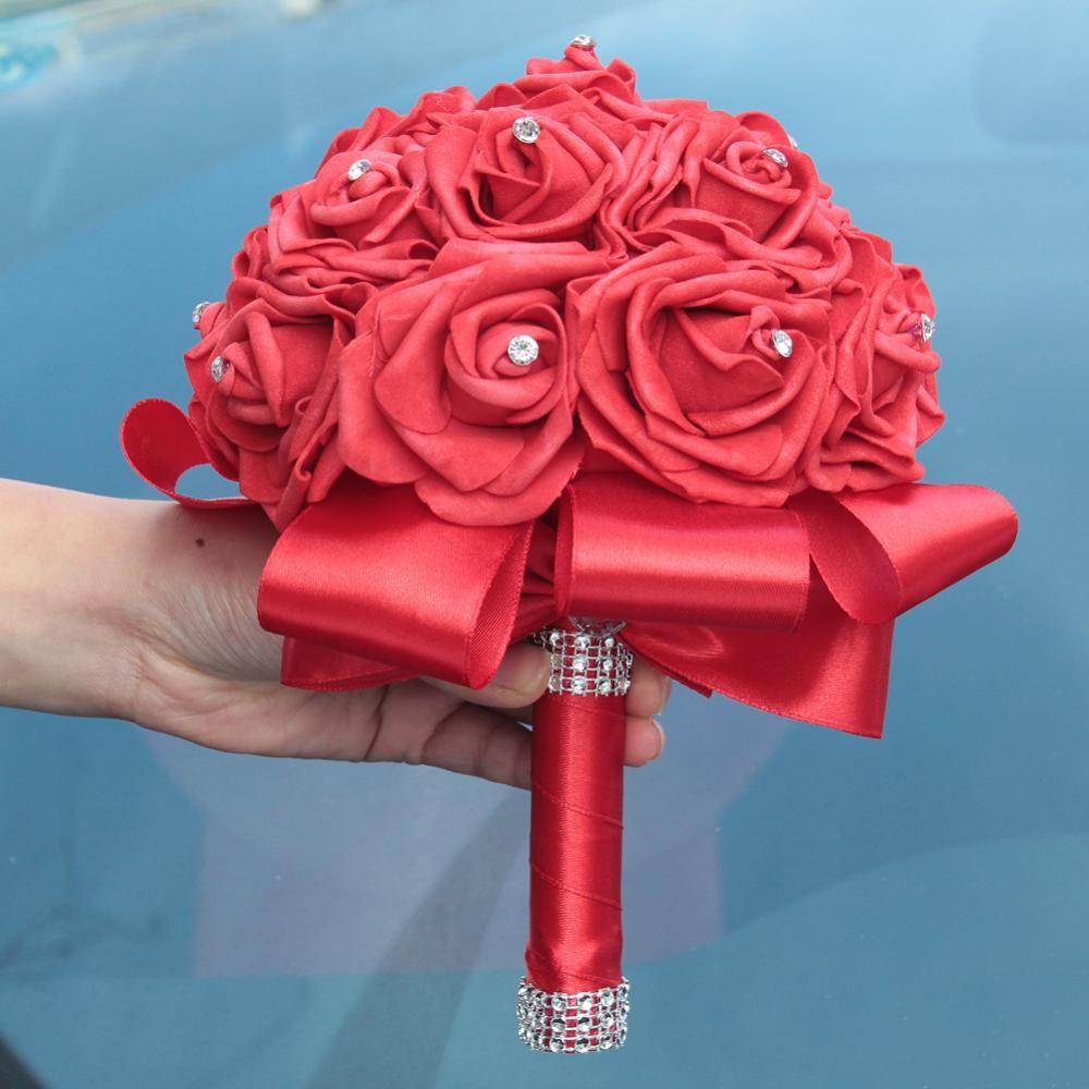 En Stock Pure White Diamond cinta PE Ramo de flores de espuma ramo de la boda de Marfil Crema PE Rose de mariage boda BouquetsW2018