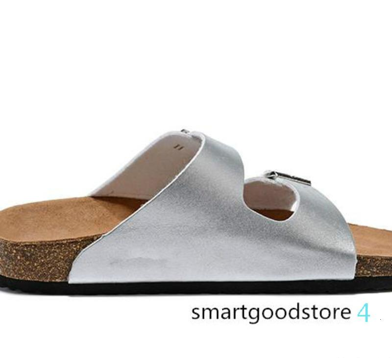 Men's Flat Sandals Women Casual Shoes Double Buckle Famous Brand Arizona Summer Beach Top Quality Genuine Leather Slippers With Orignal DF07