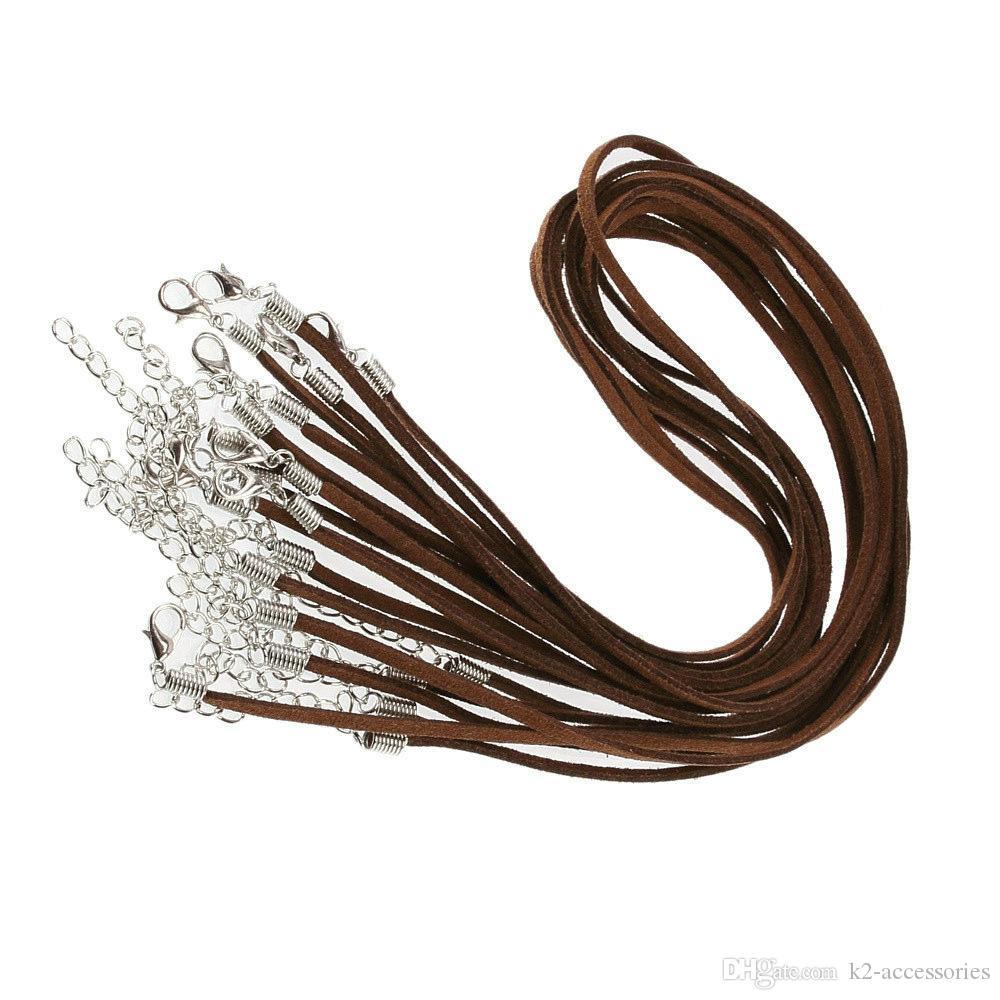 Cordon de collier en cuir de velours de couleur en daim de couleur brune de 3mm ajustable avec fermoir de homard 100pcs / lot