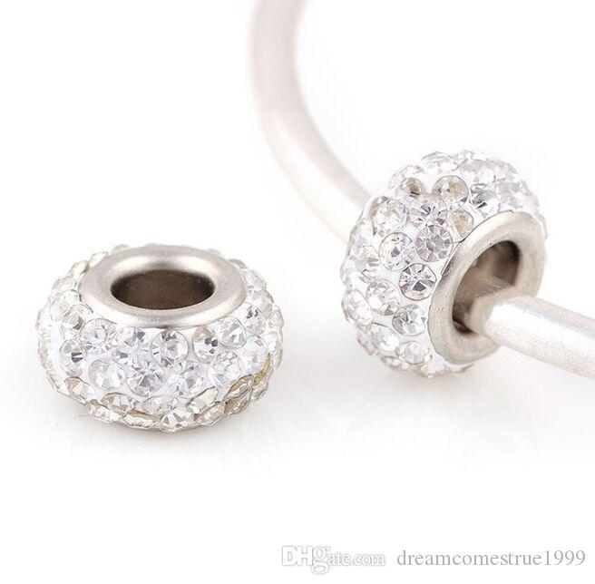 100 قطعة / الوحدة التبت الفضة الحفرة الكبيرة كريستال الخرز فاصل سحر لصنع المجوهرات 12 ملليمتر