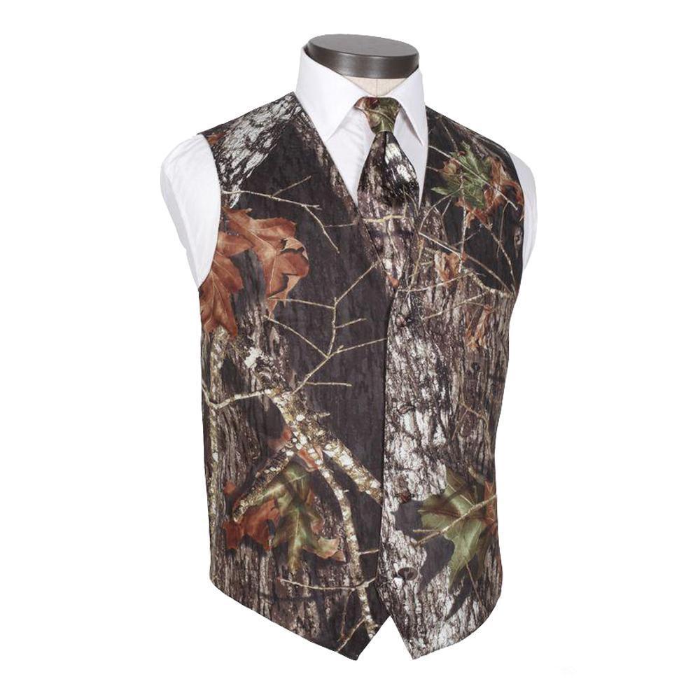 2020 Modest Camo sposo Gilet Rustic Wedding Vest Tronco d'albero Foglie Primavera mimetico misura sottile Gilet insieme delle 2 parti (Vest + Tie) su ordine