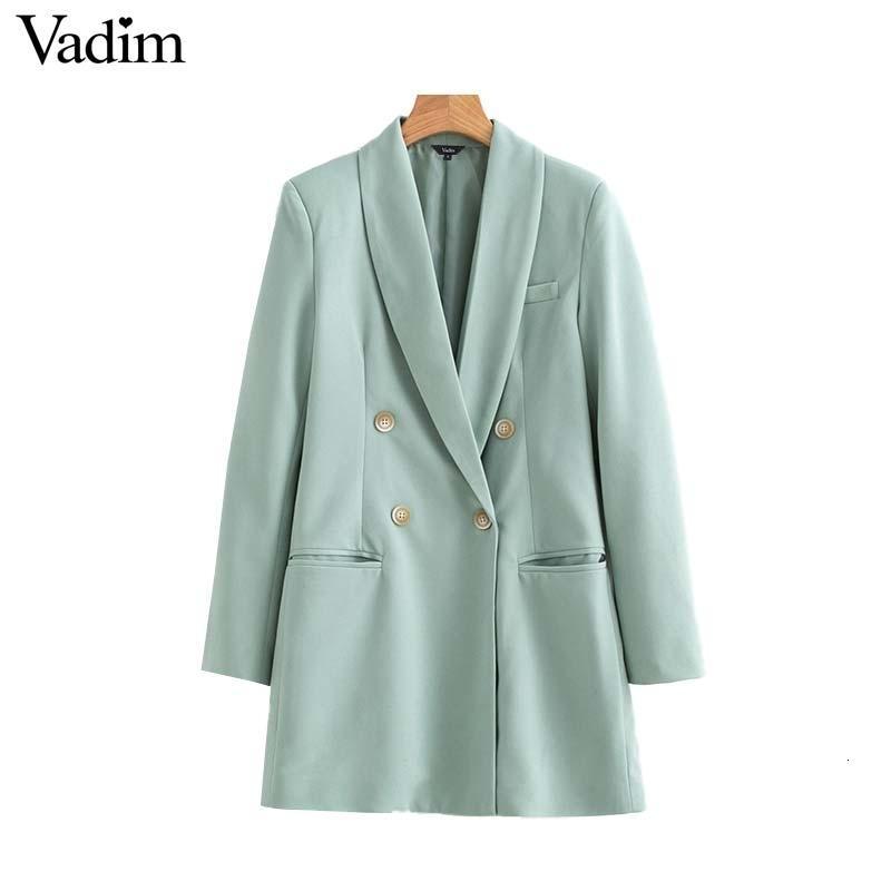 Vadim donne chic lunga giacca doppio petto tasche lungo manica cappotti di usura ufficio solido capospalla informale Top Femminili CA503 V191128