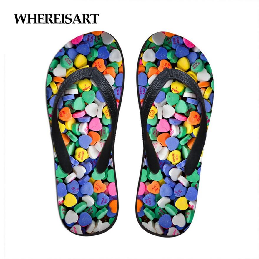 WHEREISART Fashion Candy Color Rubber Flip Flops for Women Summer Beach Water Slippers Comfortable Soft Bottom Sandals Shoes
