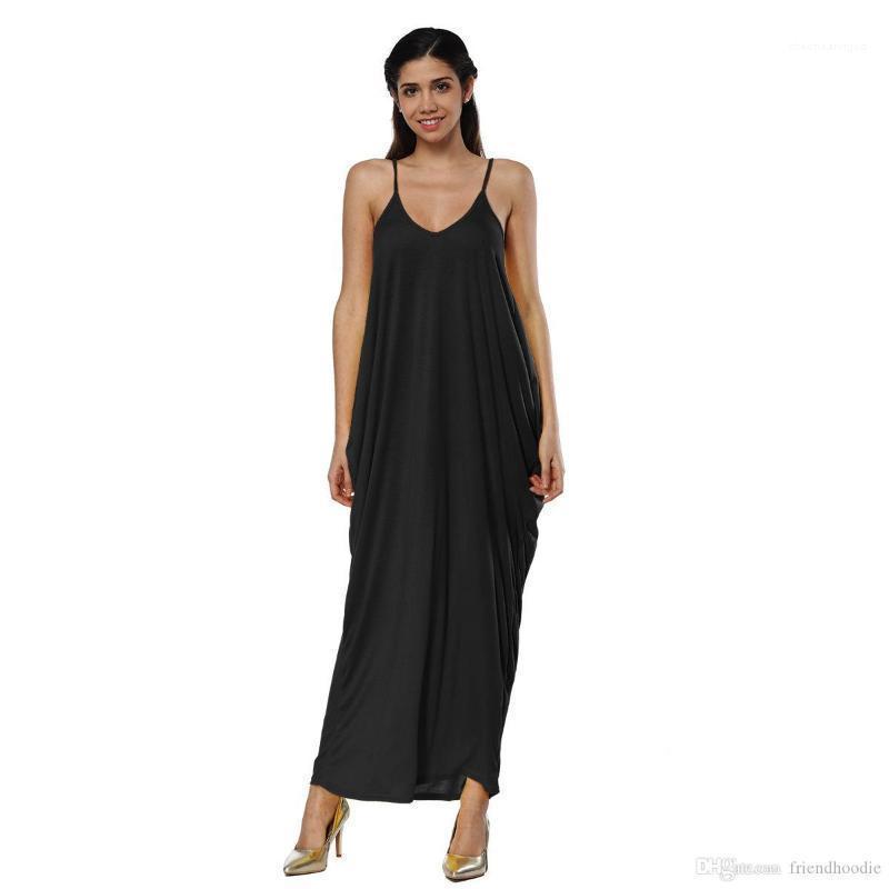 Plaj Low Cut Tek Parça Kadın Giyim Kadınlar Uzun Elbise Yaz Derin V-Yaka Düzensiz Sling Elbise