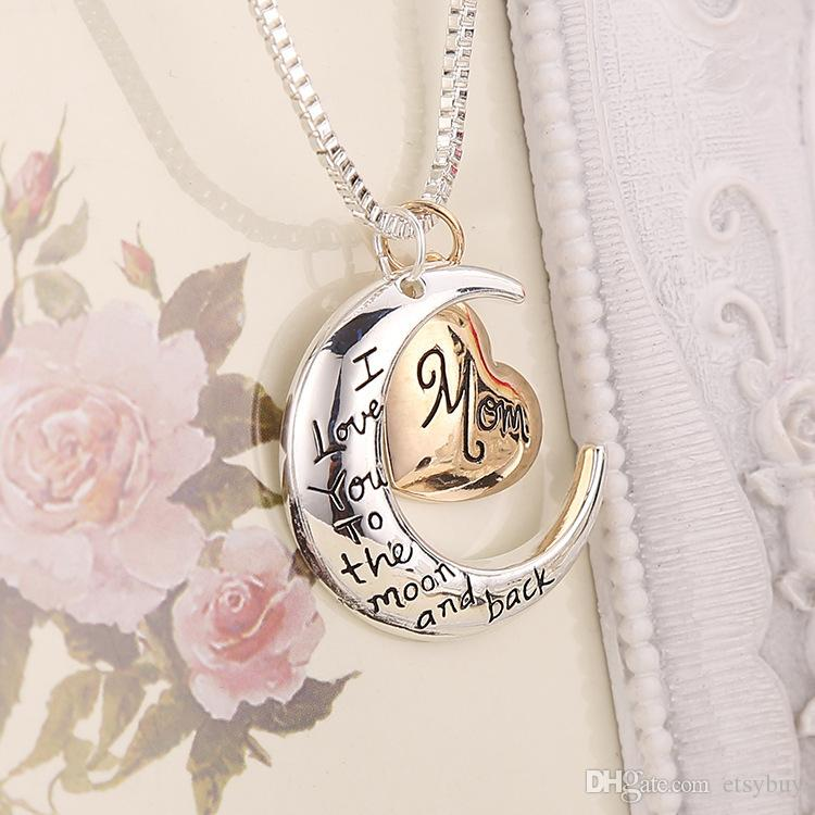 2020 High Quality Moon Heart Jewelry I Love You To The Moon And Back Mom Pendant Necklace Mothers Day Gifts Wholesale Fashion Jewelry