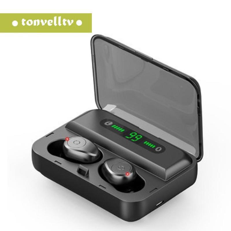 F9-5 TWS Bluetooth-Kopfhörer V5.0 drahtloser Kopfhörer HIFI Earbuds Stereo Bass Headset mit Mikrofon 1500mAh Akku Handy