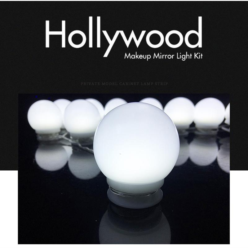 LED miroir de l'éclairage 3.5m USB 6500K Hollywood style LED Miroir de courtoisie Lumières Kit pour le maquillage Dressing lampe murale flexible bande de lumière