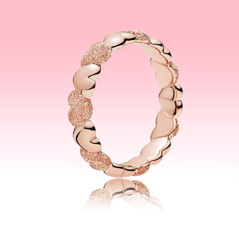 Yeni Mat Brilliance Kalp Band Yüzük 18 K Gül Altın Kaplama Kadınlar Düğün Aşk Yüzük Pandora Gerçek 925 Gümüş Yüzük Ile Orijinal Kutusu