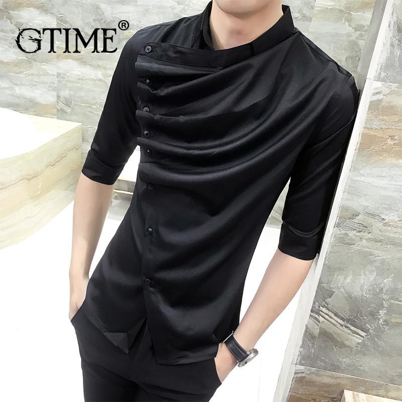 Gtime Dropshipping Summer Gothic Shirt Ruffle Designer Collar Shirt Black White Men Fashion Prom Party Club Even Shirts ZS35