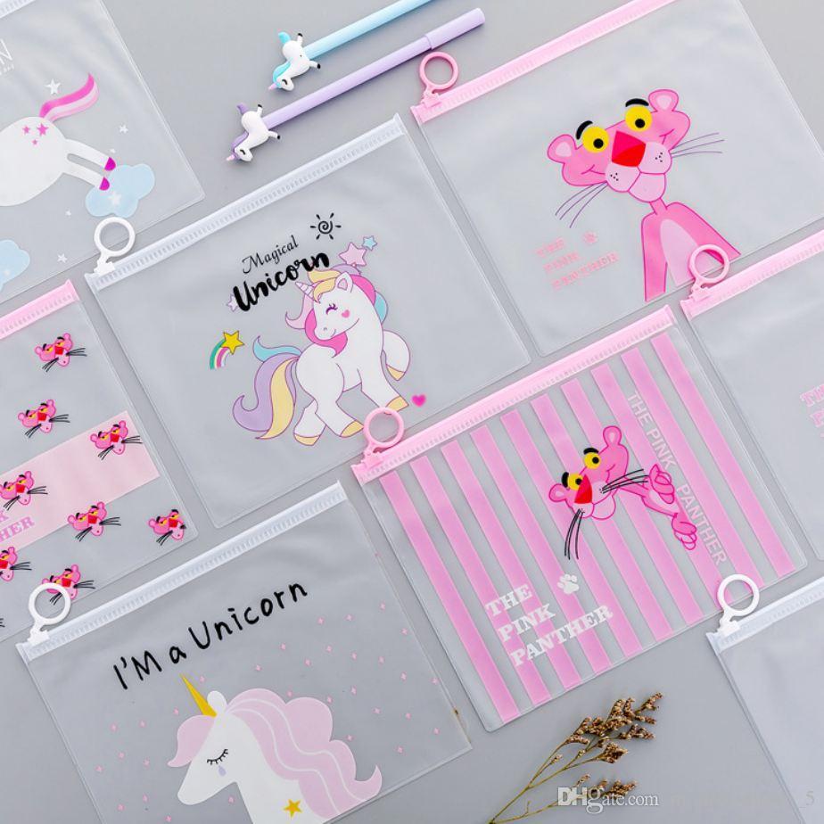 Cute Pink Leopard Unicorn Transparent Travel Cosmetic Bag Make Up Case Makeup File Bag Women Organizer Toiletry Storage Kit Box (Retail)
