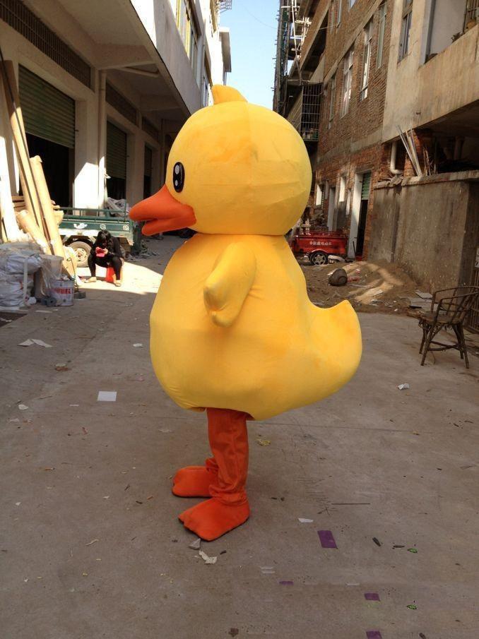 2019 Hohe Qualität Große Gelbe Gummi Ente Maskottchen Kostüm Cartoon Durchführungskostüm Freies Verschiffen