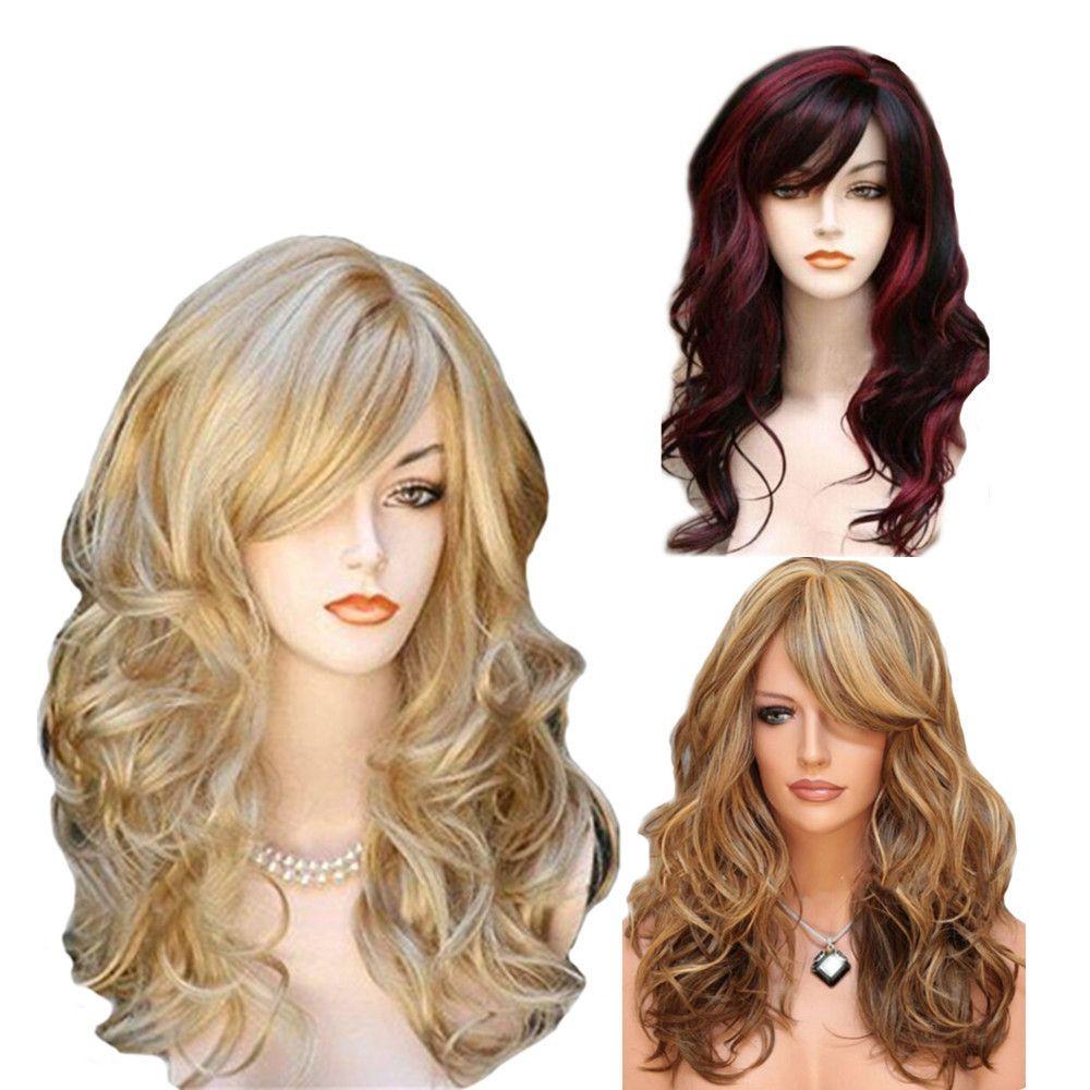 2019 peluca europea y estadounidense oro peluca femenina pelo multicolor medio largo pelo rizado peluca de fibra química