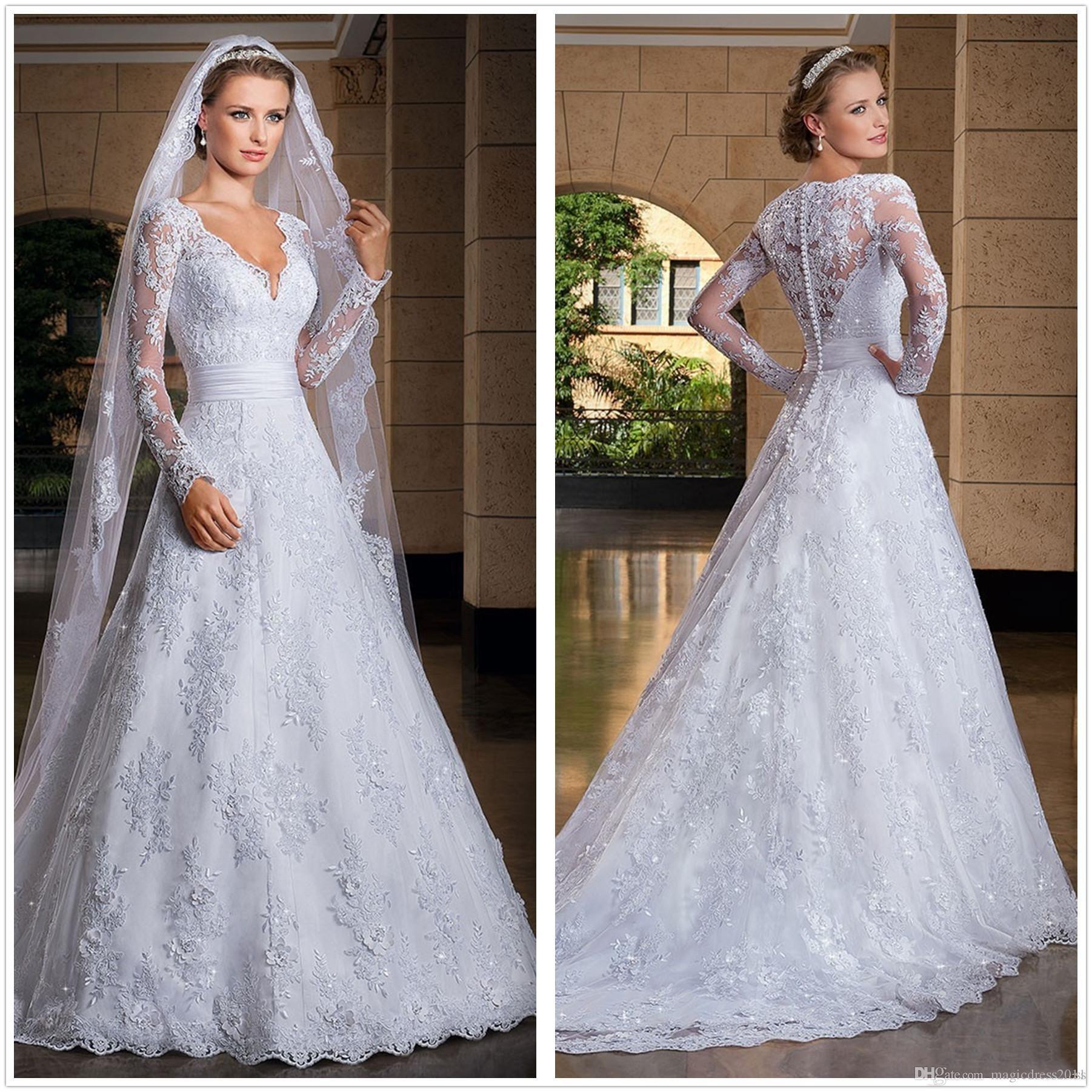 Elegante de manga larga de encaje una línea vestidos de boda apliques de tul con cuello en V de novia vestidos de boda con los botones Vestidos de boda