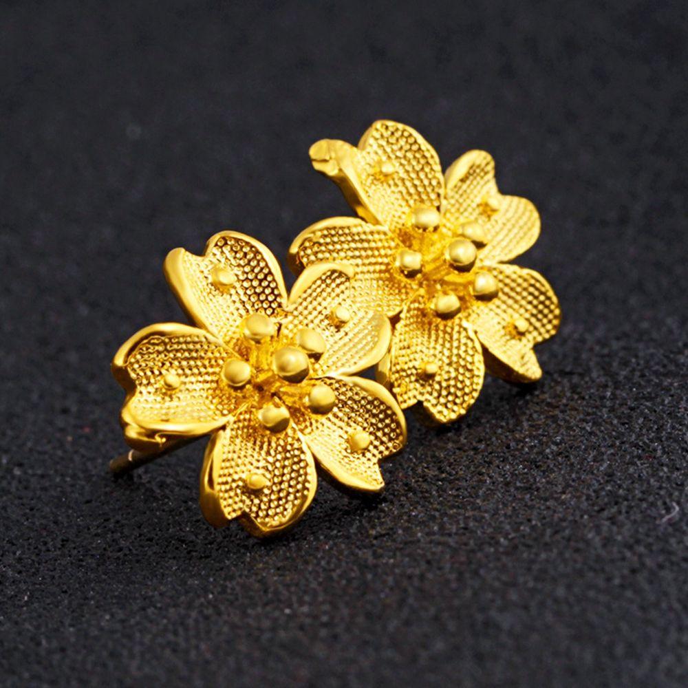 Bello sveglio Golen a forma di fiore Orecchini oro giallo 18K ha riempito delle ragazze delle donne orecchini regalo Charm