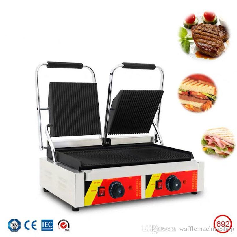 Ticari Çift Plaka Elektrikli Panini Sandviç Makinesi Elektrikli Kızarmış Biftek Pan Sandviç Makinesi 110 V 220 V Snack Otel Restoran Ekipmanları
