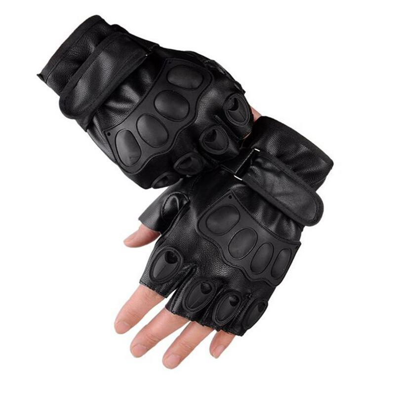 Men 's PU Leather Half Finger Outdoor Sports Cycling Sheepskin Tactical Gloves Dumbbell Weight Lifting Gym Gloves G131