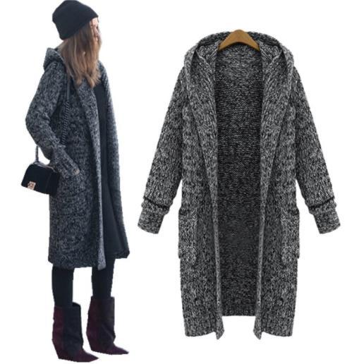 Oversized Quente longa cinzenta Grosso Cardigans Inverno Sweater Jumper com capuz por Mulheres Plus Size Outwear completo manga com bolsos V191109